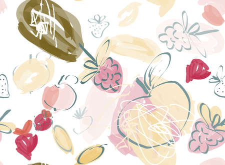 Doodles with grunge texture rough drawn apple and raspberries.Abstract seamless pattern. Universal bright background for greeting cards, invitations. Had drawn ink and marker watercolor texture.