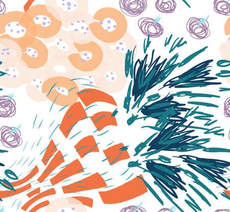 Gefärbt mit verschiedenen Bürstenanschlägen masert und punktiert Blumenfrühlingsblumenblumenstrauß Abstraktes nahtloses Muster. Universeller heller Hintergrund für Grußkarten, Einladungen. Hatte Tinte und Marker Aquarell Textur gezeichnet. Standard-Bild - 90403516