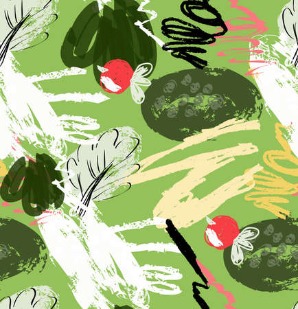 Rough scribbles and doodles with berries and floral leaves.Abstract seamless pattern. Universal bright background for greeting cards, invitations. Had drawn ink and marker watercolor texture. Illustration