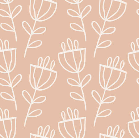 ラフ描かれた花。抽象的なシームレス パターン。グリーティング カード、招待状の普遍的な明るい背景。インクとマーカーの水彩テクスチャを描い