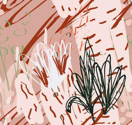 ドットとストロークで描かれた落書きラフ。抽象的なシームレスなパターン。グリーティングカード、招待状のための普遍的な明るい背景。●イン