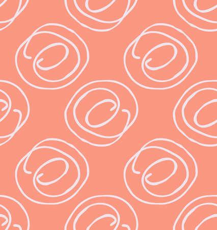 大まかな描き下ろしの落書き円。抽象的なシームレス パターン。グリーティング カード、招待状の普遍的な明るい背景。インクとマーカーの水彩テ  イラスト・ベクター素材