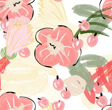 グランジ テクスチャ荒い描かれた花と果実の落書き。抽象的なシームレス パターン。グリーティング カード、招待状の普遍的な明るい背景。イン  イラスト・ベクター素材