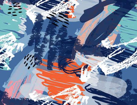 クレヨンとグランジ テクスチャ荒い描かれたいたずら書き。抽象的なシームレス パターン。グリーティング カード、招待状の普遍的な明るい背景  イラスト・ベクター素材