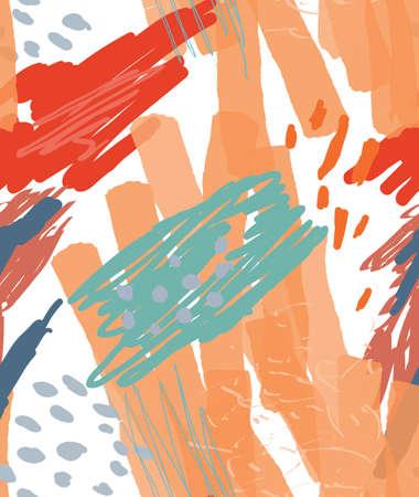 ほぼ落書きドット マーカー ブラシ円を描画します。抽象的なシームレス パターン。グリーティング カード、招待状の普遍的な明るい背景。インク  イラスト・ベクター素材
