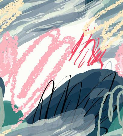 抽象的な木とマーカー ブラシ テクスチャの落書きをクレヨンします。抽象的なシームレス パターン。グリーティング カード、招待状の普遍的な明