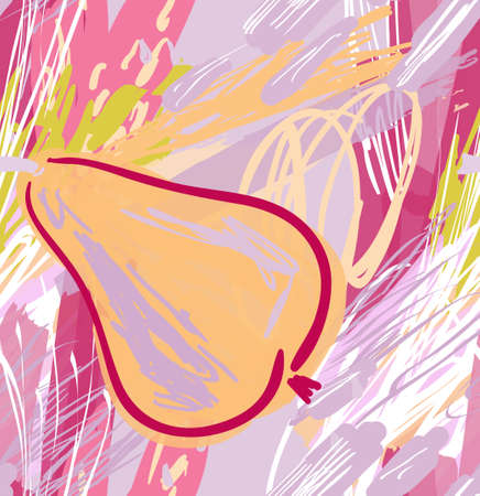 Roughly drawn pear.Abstract seamless pattern. Universal bright background for greeting cards, invitations. Had drawn ink and marker watercolor texture.