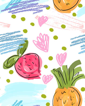 Rough doodled strawberries.Abstract seamless pattern. Universal bright background for greeting cards, invitations. Had drawn ink and marker watercolor texture.