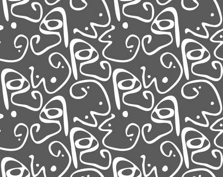 Reapiting pattern with Abstract curvy shapes with dots white on dark gray.Hand drawn with ink monochrome seamless background. Creative roughly hand drawn shapes.  イラスト・ベクター素材