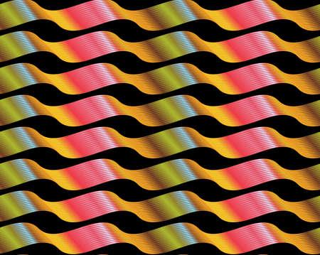 黒の光沢のある緑赤黄色い波線リボンで Reapiting パターン。  イラスト・ベクター素材