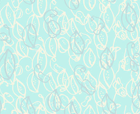 Reapiting pattern with Abstract countered on green spring seeds with dots.Hand drawn with ink seamless background. Creative roughly hand drawn shapes.