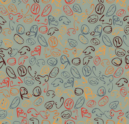 Reapiting pattern with Abstract roughly curved shapes on heather green.Hand drawn with ink seamless background. Creative roughly hand drawn shapes. Illustration