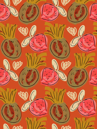 Reapiting pattern with Roughly drawn strawberries and pineapples on orange.Hand drawn with ink and colored with marker brush seamless background. Creative seasonal design with abstract fruits. Illusztráció