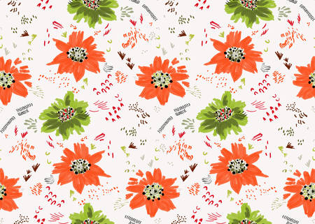Reapiting pattern with Abstract spring orange and green flowers and seeds.Seamless background with roughly drawn spring flowers and seeds.