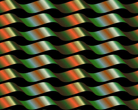 黒に光沢のある緑色のオレンジ色の波状のリボンを持つリアップパターン。  イラスト・ベクター素材