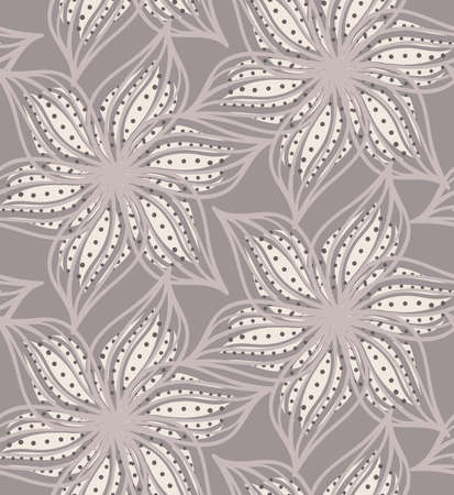 Reapiting pattern with Abstract geometrical heather flower with pointy pedals with dots.Seamless background with dots and wavy abstract geometrical flowers. Illustration