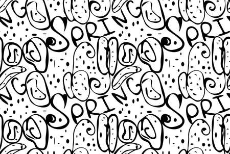 Reapiting pattern with Abstract spring seeds black on white.Hand drawn with ink monochrome seamless background. Creative roughly hand drawn shapes. Illusztráció