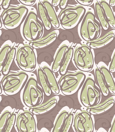 Reapiting pattern with Abstract spring seeds brown heather green.Hand drawn with ink seamless background. Creative roughly hand drawn shapes.