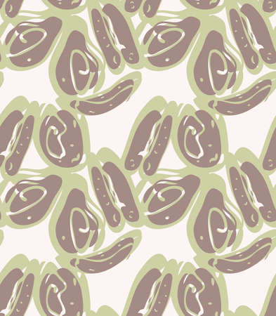 Reapiting pattern with Abstract spring seeds heather green brown.Hand drawn with ink seamless background. Creative roughly hand drawn shapes.