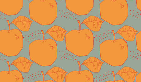 Reapiting pattern with Rough abstract orange apples with leaf and dotsHand drawn with ink and colored with marker brush seamless background. Creative seasonal design with abstract fruits. Illusztráció