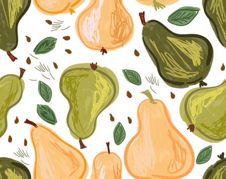Reapiting pattern with Hand drawn with pencils pears with leaves and seeds on white.Hand drawn with ink and colored with marker brush seamless background. Creative seasonal design with abstract fruits. Illustration