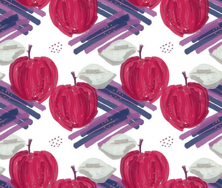 Reapiting pattern with Rough abstract red apples with leaf on blue strokes.Hand drawn with ink and colored with marker brush seamless background. Creative seasonal design with abstract fruits.