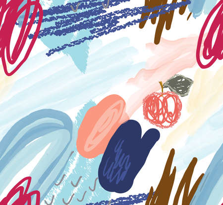 Abstract seamless pattern of watercolor brush strokes with scribbles doodles and apples. Illustration