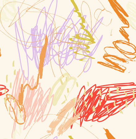 Abstract seamless pattern of random pencil kids drawing with dots and strokes.
