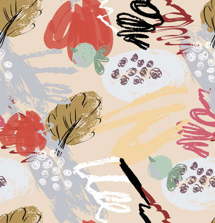 Abstract seamless pattern of rough scribbles and doodles with berries and floral leaves.