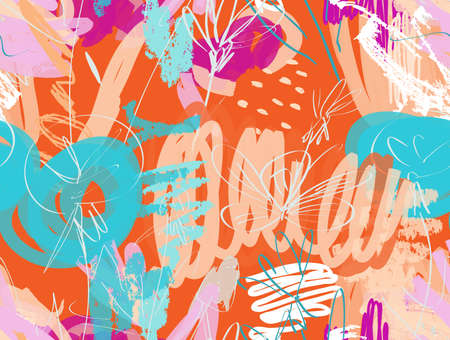 Abstract seamless pattern of doodles with grunge texture rough drawn dandelion flower and garden.  イラスト・ベクター素材