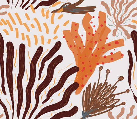 Abstract seamless pattern of colored with different brush strokes textures and dots floral underwater seaweed and corals. Illustration