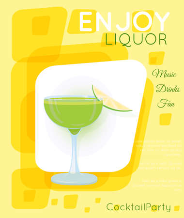 Green cocktail in coupe glass with slice of lime on yellow rectangles.Cocktail illustration on bright contemporary flat background. Design for cocktail menu, bar poster, event invitation. Template for cocktail party.