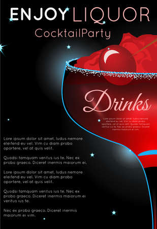 Red cocktail with cherry on crushed ice half.Neon cocktail with light glowing on black background. Design for cocktail menu, cocktail party, bar poster. Template for nightclub event or party.