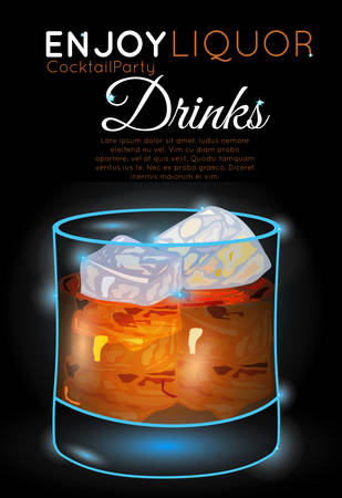 Scotch on rocks on black.Neon cocktail with light glowing on black background. Design for cocktail menu, cocktail party, bar poster. Template for nightclub event or party. Illustration