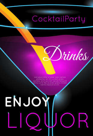Bright pink cocktail in martini glass close up.Neon cocktail with light glowing on black background. Design for cocktail menu, cocktail party, bar poster. Template for nightclub event or party.
