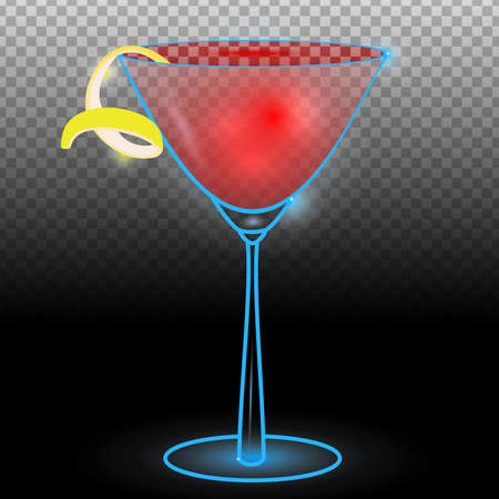 Cosmopolitan cocktail transparent.Neon cocktail with light glowing isolated on black background. Illustration of alcohol drink with transparency effect.