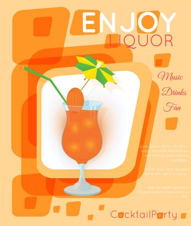 Orange cocktail with straw and decorative umbrella on orange rectangles.Cocktail illustration on bright contemporary flat background. Design for cocktail menu, bar poster, event invitation. Template for cocktail party.