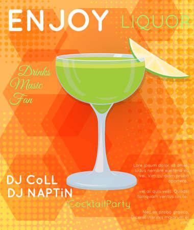 Groene cocktail in coupeglas met plak van kalk op oranje halftone zeshoeken. Cocktailillustratie op heldere eigentijdse vlakke achtergrond. Ontwerp voor cocktailmenu, barposter, uitnodiging voor een evenement. Sjabloon voor cocktailparty.