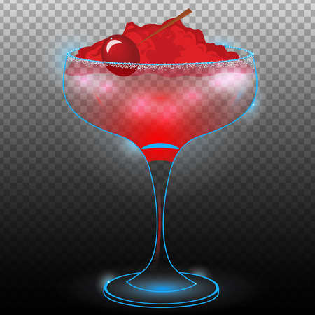 Red cocktail with cherry on crushed ice transparent.Neon cocktail with light glowing isolated on black background. Illustration of alcohol drink with transparency effect.
