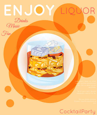 Scotch on rocks cocktail on orange circles.Cocktail illustration on bright contemporary flat background. Design for cocktail menu, bar poster, event invitation. Template for cocktail party.