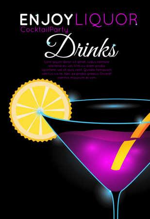 Cóctel rosado brillante en el vidrio de martini con la parte de la rebanada anaranjada. Cóctel de Neón con brillar intensamente ligero en fondo negro. Diseño para menú de cócteles, cóctel, póster de bar. Plantilla para evento de discoteca o fiesta. Ilustración de vector