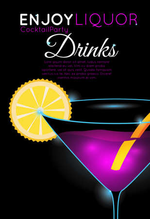 Bright pink cocktail in martini glass with orange slice part.Neon cocktail with light glowing on black background. Design for cocktail menu, cocktail party, bar poster. Template for nightclub event or party. Illustration