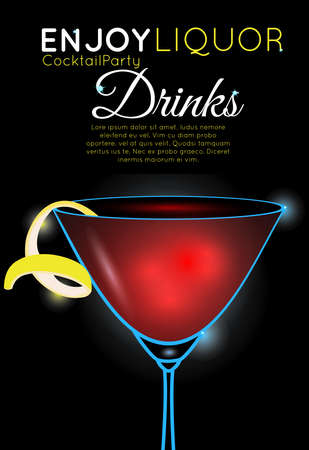 Cosmopolitan cocktail top.Neon cocktail with light glowing on black background. Design for cocktail menu, cocktail party, bar poster. Template for nightclub event or party.