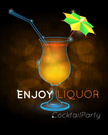 Orange cocktail with straw and decorative umbrella disco.Neon cocktail with light glowing on black background. Design for cocktail menu, cocktail party, bar poster. Template for nightclub event or party. Illustration