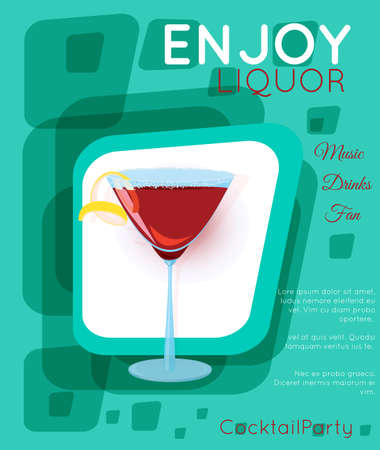Red cosmopolitan cocktail in martini glass on green rectangles.Cocktail illustration on bright contemporary flat background. Design for cocktail menu, bar poster, event invitation. Template for cocktail party.