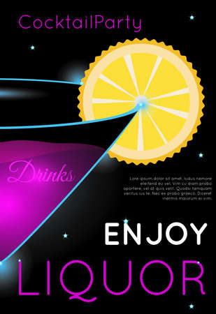 Bright pink cocktail in martini glass part with orange slice.Neon cocktail with light glowing on black background. Design for cocktail menu, cocktail party, bar poster. Template for nightclub event or party.