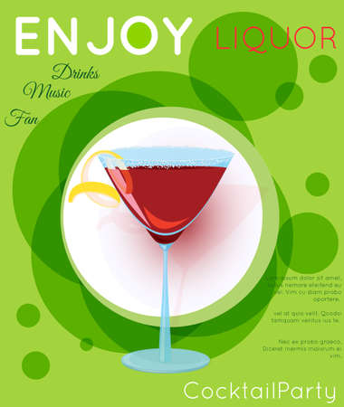 Red cosmopolitan cocktail in martini glass on green circles.Cocktail illustration on bright contemporary flat background. Design for cocktail menu, bar poster, event invitation. Template for cocktail party. Illustration