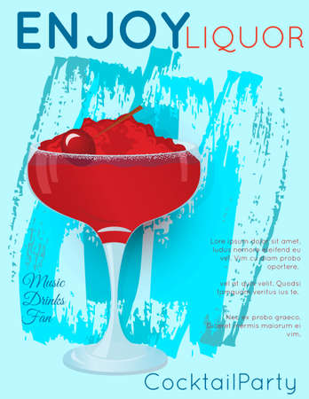 Red cocktail with crushed ice and cherry on blue grunge texture.Cocktail illustration on bright contemporary flat background. Design for cocktail menu, bar poster, event invitation. Template for cocktail party. Ilustração
