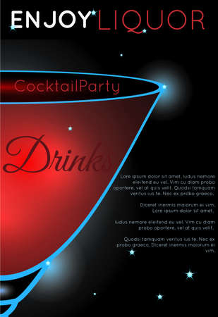 Cosmopolitan cocktail close up half.Neon cocktail with light glowing on black background. Design for cocktail menu, cocktail party, bar poster. Template for nightclub event or party. Illusztráció