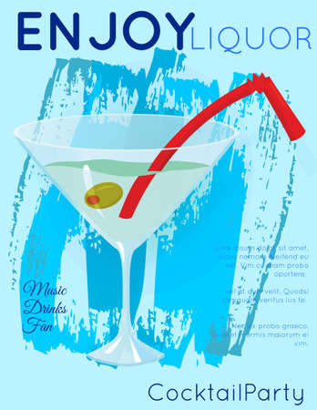 Classic martini cocktail with olive and red straw on blue grunge texture.Cocktail illustration on bright contemporary flat background. Design for cocktail menu, bar poster, event invitation. Template for cocktail party.
